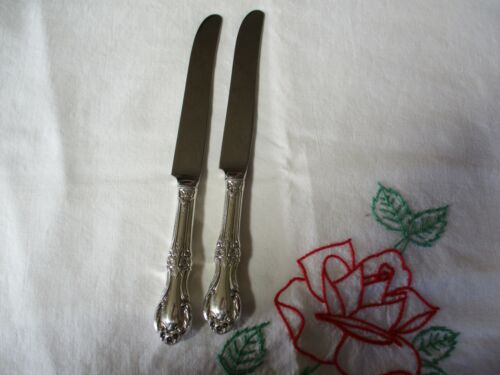 """2 International Sterling Silver 9 1/8"""" Luncheon Knives, 1948 Wild Rose"""