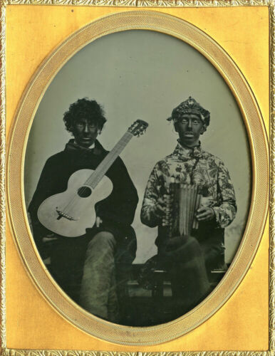 Important Museum Half Plate Cuttings Patent Ambrotype of Black Face Musicians