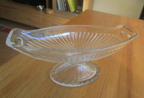 ANTIQUE HEISEY CLEAR GLASS PEDESTAL LOLLY/CHERRY DISH.