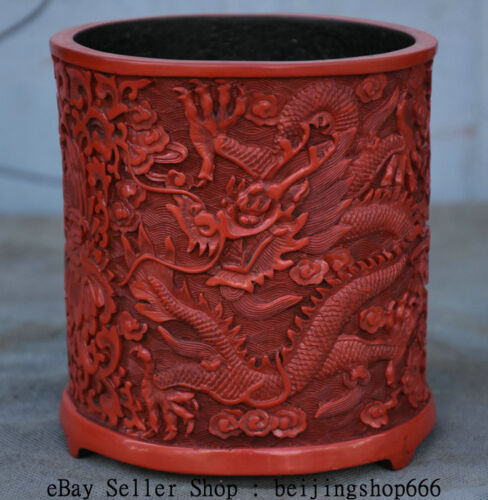 """5.2"""" Marked Rare Old China Red Lacquerware Dynasty Dragon Brush Pot Pencil Vase"""