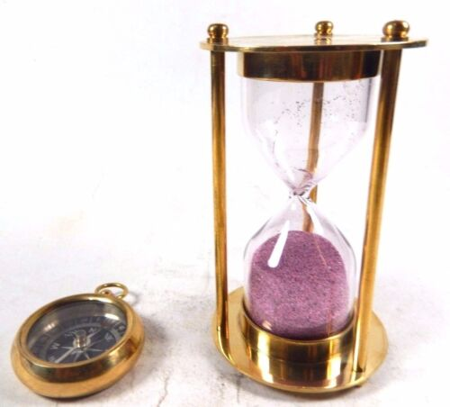 Brass Sand Timer 3 Minutes With Pocket Compass