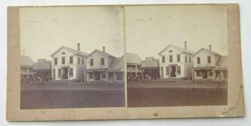 Antique Stereoview Card Main Street Druggist Storefront Old West Town WA State?