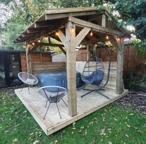 Wooden Gazebo 3.6m Hot Tub Shelter, Outdoor Timber Garden Gazebo Roof Canopy <br/> FULLY TREATED CHUNKY FRAME - DIY KIT - FAST DELIVERY