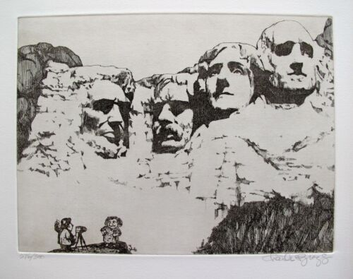Charles Bragg MOUNT RUSHMORE Hand Signed Limited Edition Etching Art