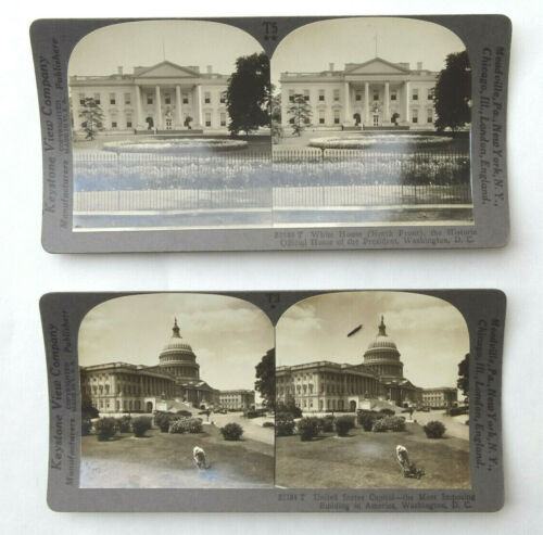 1920s Antique Keystone Stereoview White House Capitol Washington, DC T3 T5 - SV1