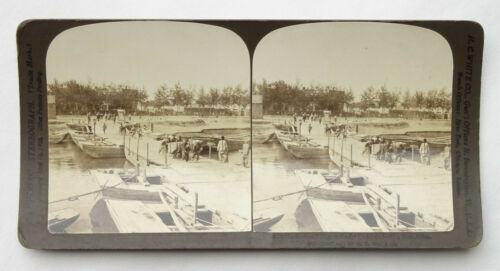 Antique  China Stereoview Card Pei Ho River Pontoon Bridge Chinese - SV1