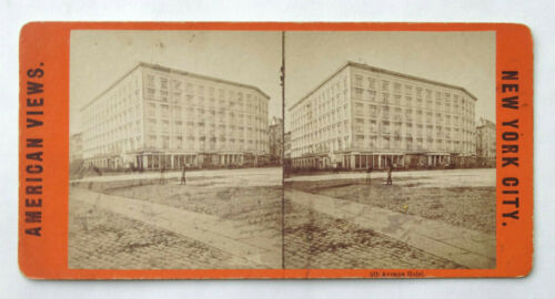 Antique Stereoview Card American Views 5th Ave. Hotel New York City NYC - SV1