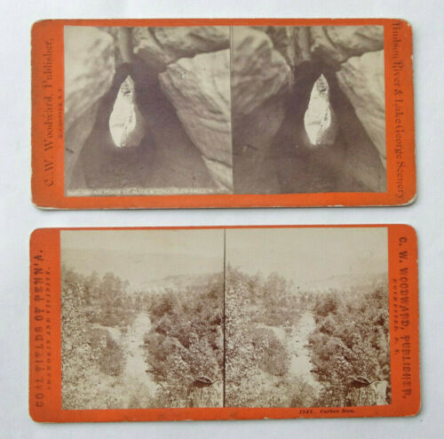 x2 Antique Stereoview Card C.W. Woodward Hudson River & Coal Fields - SV1