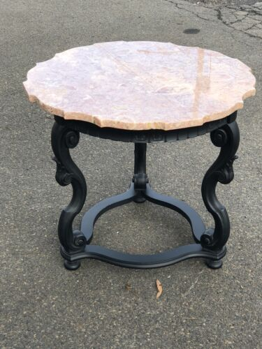 Made In Portugal Marble Top End Table With Black Painted Base