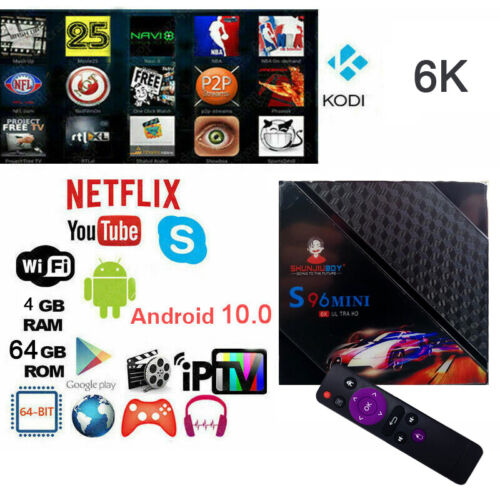 TV BOX ANDROID 10 4GB RAM 64GB 8K 4K ULTRA HD WIFI QUAD CORE SMART TV
