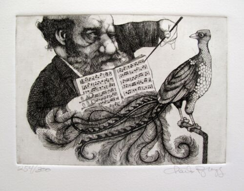 """CHARLES BRAGG """"MUSIC LESSON"""" Hand Signed Limited Edition Etching RARE!"""