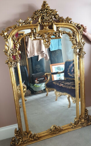 Louis XV Style gilt wood framed mirror 100 x 160 cm
