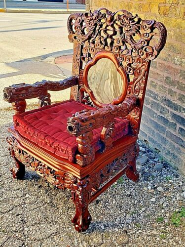 Asian Oriental Vintage rose wood carved Dragon Throne Chair with marble