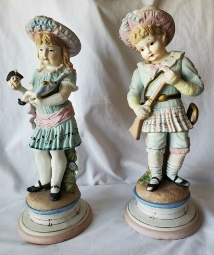 """Antique Bisque Boy & Girl Figurines LARGE PAIR 16.5"""" tall"""