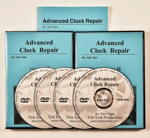 Large ADVANCED CLOCK REPAIR study course 4 video DVDs + book <br/> 2 volume set on 4 DVD discs with course manual!!