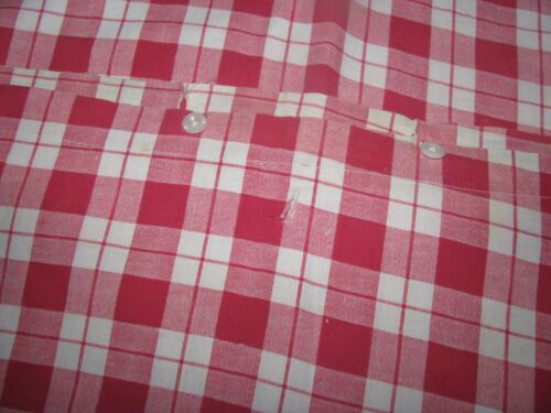 COUNTRY RED WHITE COTTON FABRIC COVERLET YARDAGE FARMHOUSE ANTIQUE PRIMITIVE