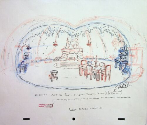 The Simpsons Production SIGNED CHRIS BOLDEN Animation Hand Drawn PUMPKIN HOUSE
