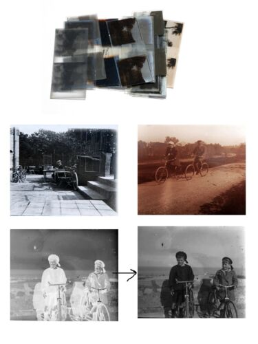 BIKES Old Glass Stereoscopic photographs BICYCLE People stereoviews Stereoscope