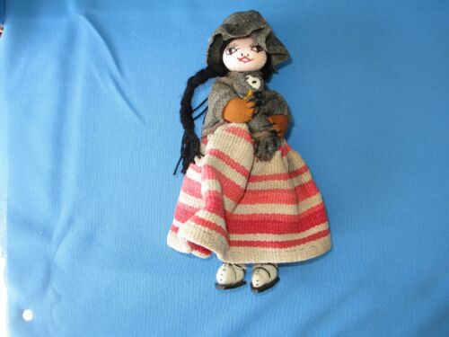 """~Folk Art Doll carrying Babies~South America/Mexico~8-1/2"""" tall. Unique~"""