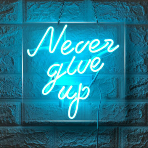 """10""""x10""""Never Give Up Neon Sign Light Man Cave Nightlight for Bedroom Real Glass"""