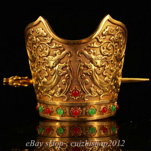 """4"""" Chinese Copper 24K Gold Gilt Dynasty Palace Dragon Hairpin cap hat headwear"""