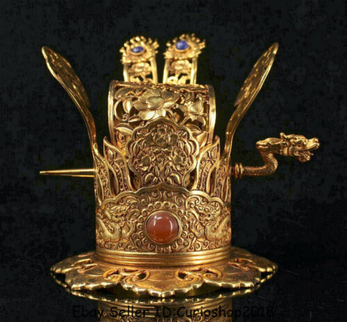 """5.2"""" Old Chinese Copper 24K Gold Gilt Dynasty Dragon Hairpin official cap hat"""