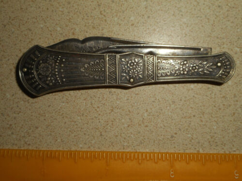 Antique STERLING SILVER Fancy Victorian Folding Pocket Fruit Nut Knife 1.5 oz