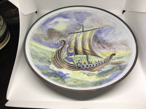 BIG SWEDISH CERAMIC BOWL WITH VIKINGSHIP AND VIKINGS FROM SWEDEN
