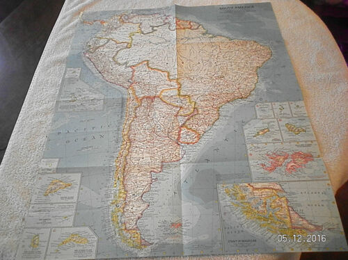 1960 VINTAGE MAP OF SOUTH AMERICA NATIONAL GEOGRAPHIC