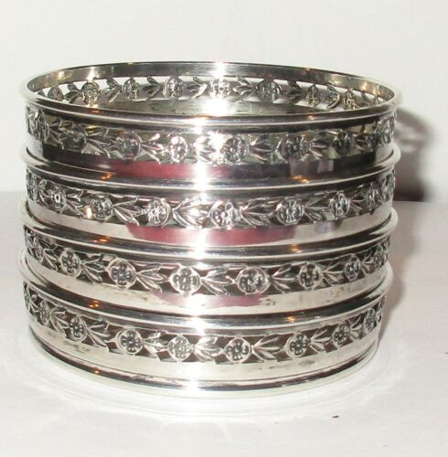 4 Birks Sterling Silver Cut Glass Flower Design Set of Drink Coasters, 1930