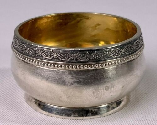 Vintage Russian Sterling Silver & Gold Salt Cellar from Tallinn Jewelry Factory