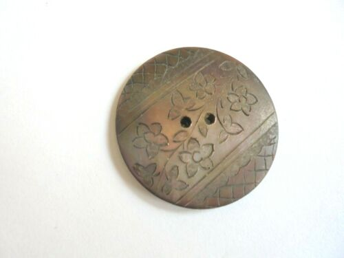 Antique Etched / Engraved Smoky Mother of Pearl 1 inch Button.
