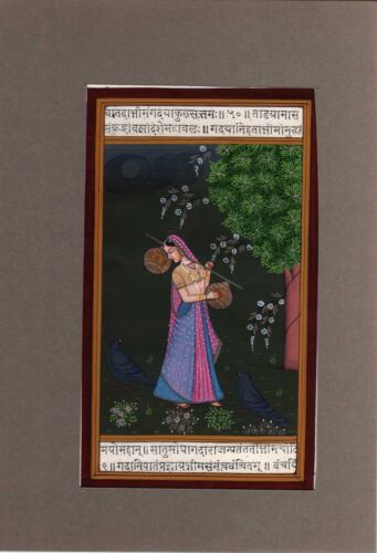 Hand Painted Indian Painting Of Rajasthani Lady Finest Artwork On Vintage Paper