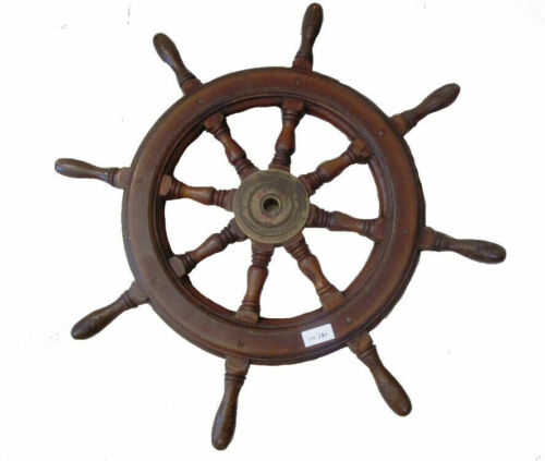 EXTRA LARGE - Vintage ship's Wooden & Brass STEERING  HELM - 100% ORIGINAL (261)