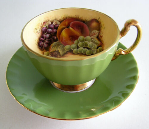 Vintage Aynsley Sage Green Ground Orchard Gold Fruit Cup and Saucer A+++ Cond.