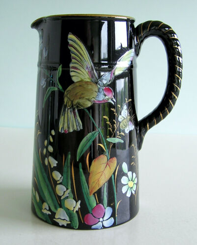 Victorian Staffordshire Jackfield Type Enamel Hand Painted HUMMINGBIRD Pitcher