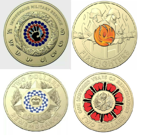 2021 $2 Indigenous Military Serv., 2020 Fire Fighters, 2019 Police & Repat Coins