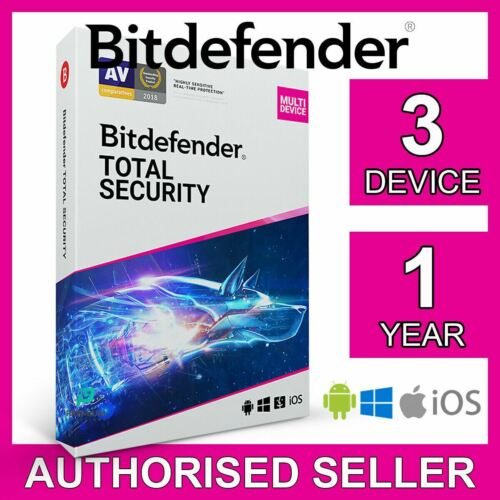 Bitdefender Total Security 2021, 3 Device 1 Year PC Mac iOS Android Active Code