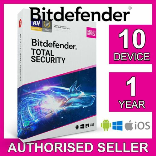 Bitdefender Total Security 2021, 10 Devices 1 Year for PC Mac iOS Android Code