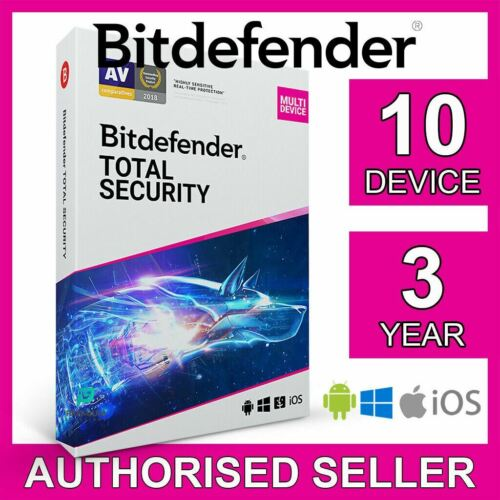 Bitdefender Total Security 2021,10 Device 3 Year PC Mac iOS Android Active Code
