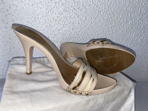 CHRISTIAN DIOR  Chaussures MULES Cuir Rose Pastel  Taille 40 /1/2