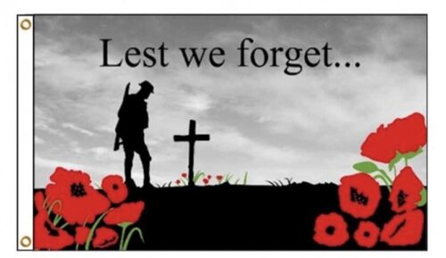 Brand New Large Quality ANZAC Lest We Forget Poppy Flag