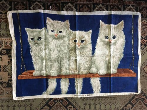 Vintage Linen Tea towel Cats