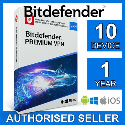 Bitdefender Premium VPN 2021 UNLIMITED 10 devices 1 year Win PC Mac Android iOS
