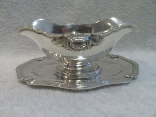 Magnificent early 20th c french 950 silver sauce boat rococo st Linzeler shells