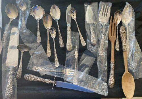20 STIEFF ROSE STERLING FLATWARE   STERLING SERVERS FROM ONE SET   20 PIECES.