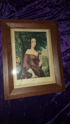 ANN 129 by Nathaniel CURRIER - VINTAGE ANTIQUE PRINT WALL HANGING LITHOGRAPH VTG