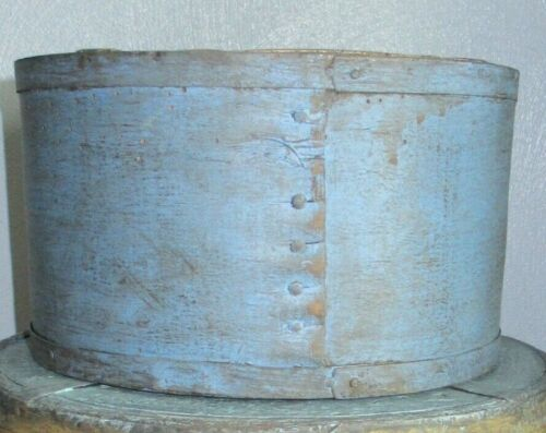 "9 1/8""-Grain Measure-Firkin/Sugar Bucket/Wooden Blue/Cream Paint-Primitive"