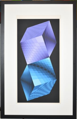 Listed Hungarian Artist VICTOR VASARELY, Large Original Signed Color Serigraph