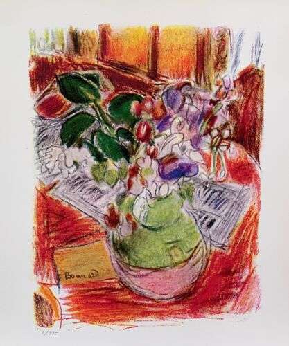Pierre Bonnard BOUQUET ON TABLE Estate Signed Limited Edition Small Giclee Art